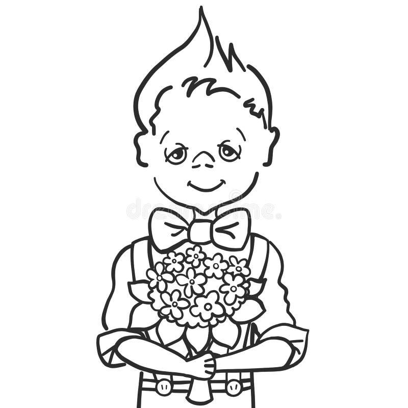 Ręki farby remisu uśmiechu mała chłopiec z batterfly co chce dawać bukietów kwiaty jego nauczyciel przy szkołą, mama, ilustracja wektor