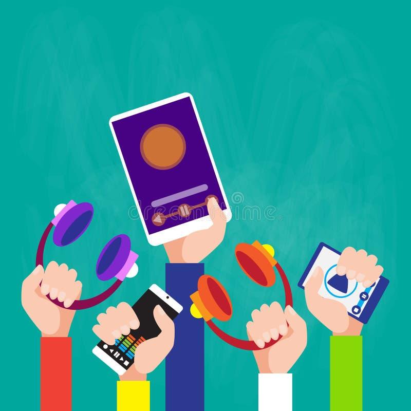 Ręki Grupują mienie przyrządu gracza Muzycznej pastylki Smartphone Nowożytną technologię royalty ilustracja