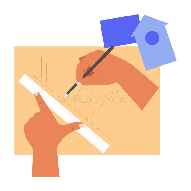 Ręki handcraft władcy i ołówka brulionowości birdhouse ilustracji