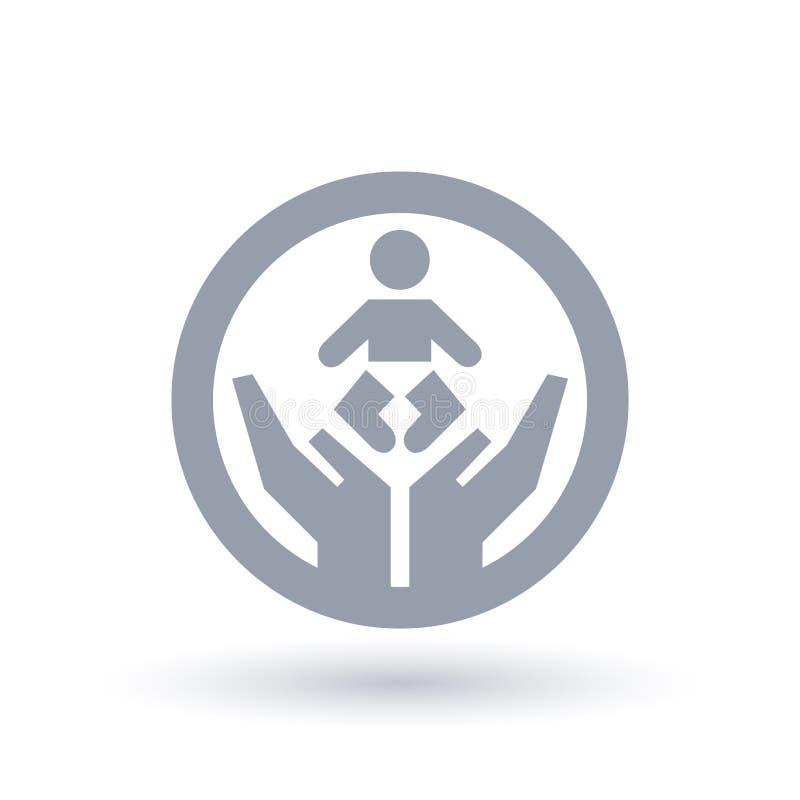 Ręki i dziecko ikona Dziecięcy symbol Nowonarodzony znak royalty ilustracja
