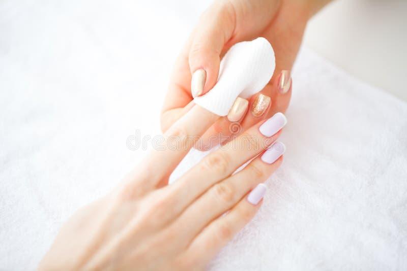Ręki i gwoździa opieka Piękne kobiety ` s ręki z Perfect manicure'em Manicure'u Mistrzowskiego mienia Bawełniani ochraniacze w rę zdjęcie stock