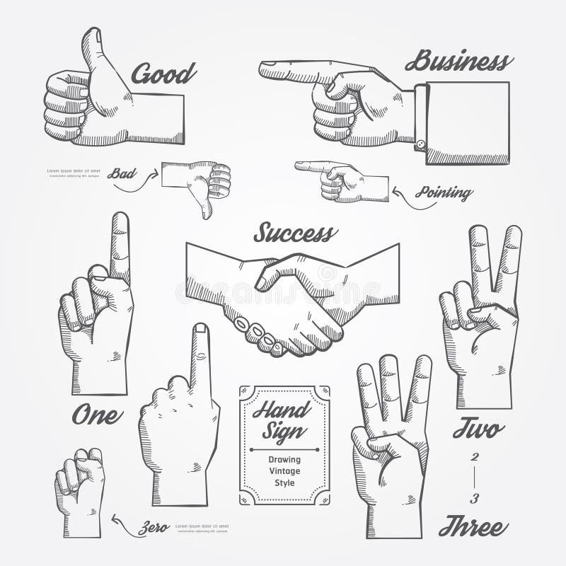 Ręki i palca znak doodle patroszonego na chalkboard tle royalty ilustracja