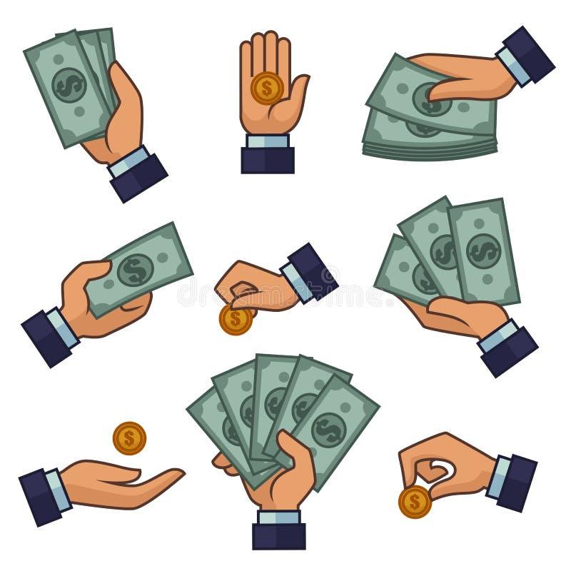 Ręki i pieniądze banknoty złoci moneta dolary i cent wektorowe płatnicze ikony ilustracji