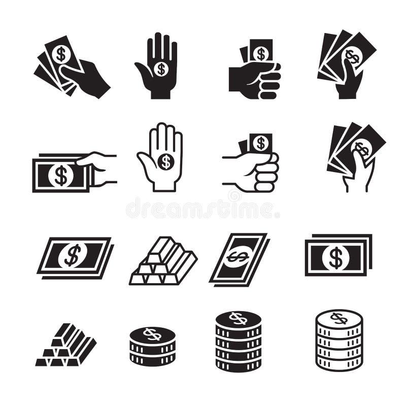 Ręki i pieniądze ikony set ilustracji