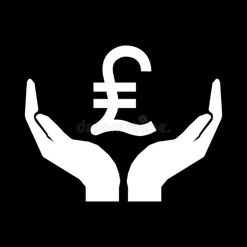 Ręki i pieniądze waluty lira INDYCZY znak Bierze opieka pieniądze znaka biel na czarnym tle ilustracji