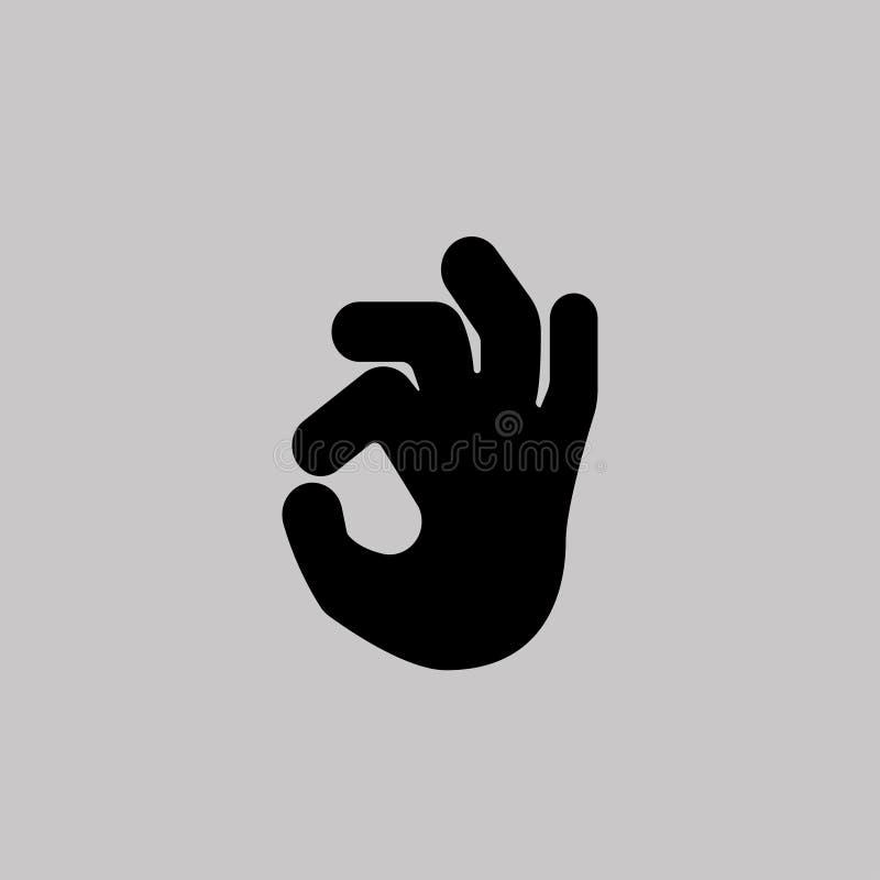 Ręki ikona - OK Szary tło również zwrócić corel ilustracji wektora royalty ilustracja