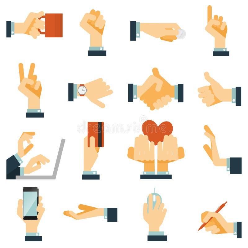 Ręki ikona ustawiający mieszkanie royalty ilustracja