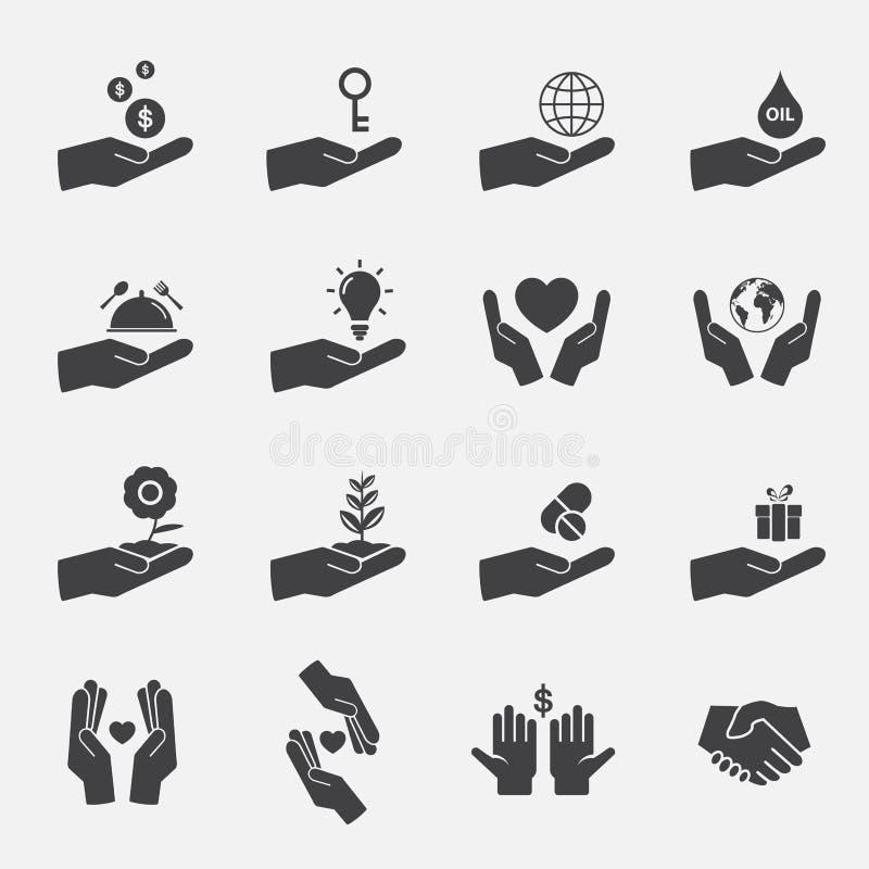 Ręki ikony szyldowy set ilustracji