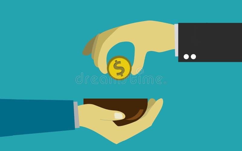 Ręki kładzenia pieniądze rachunek biedny człowiek royalty ilustracja