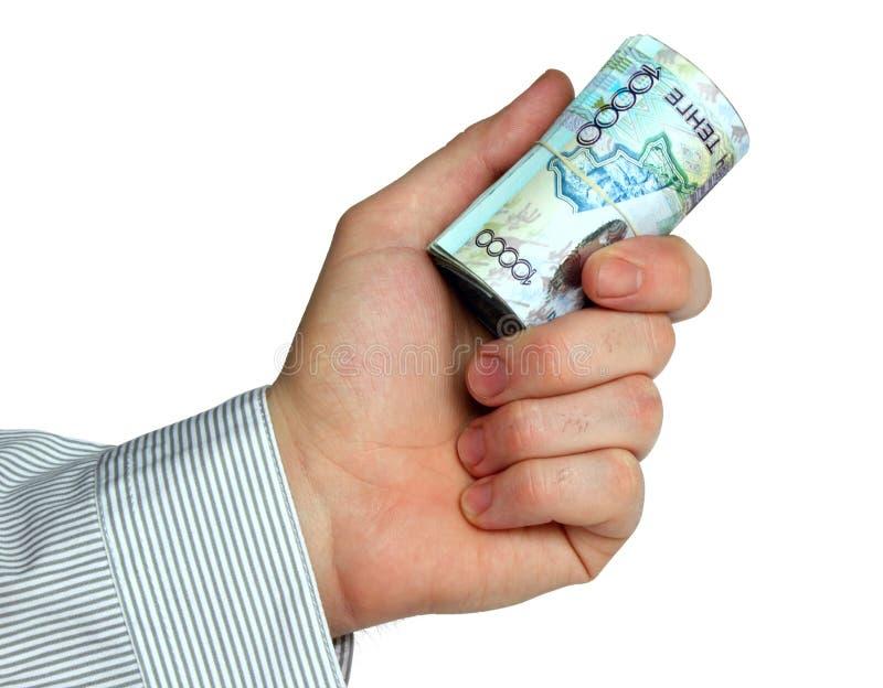 ręki kazach pieniądze rolka obrazy stock