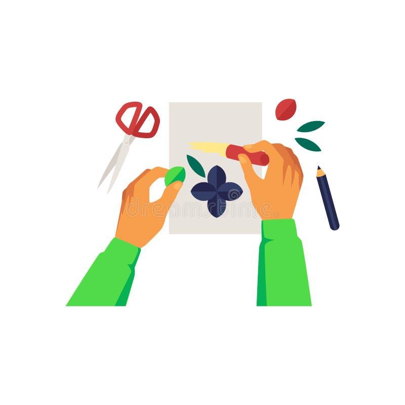 Ręki klei kolorów szczegóły papierowego robić kreskówki aplikacyjny styl ilustracji