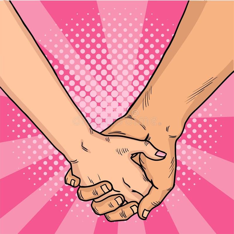 Ręki kochanek komiczki styl Dwa kochanka krzyżowali ich ręki to walentynki dni Różowy tło Rocznika wystrzału sztuka retro ilustracja wektor