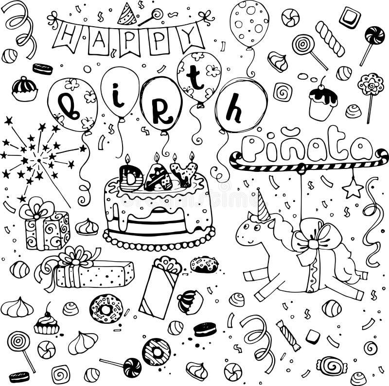 Ręki kreślący wszystkiego najlepszego z okazji urodzin doodles obraz royalty free