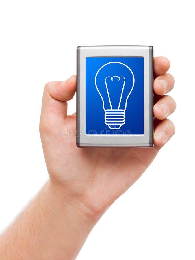 ręki lampy ekran fotografia royalty free