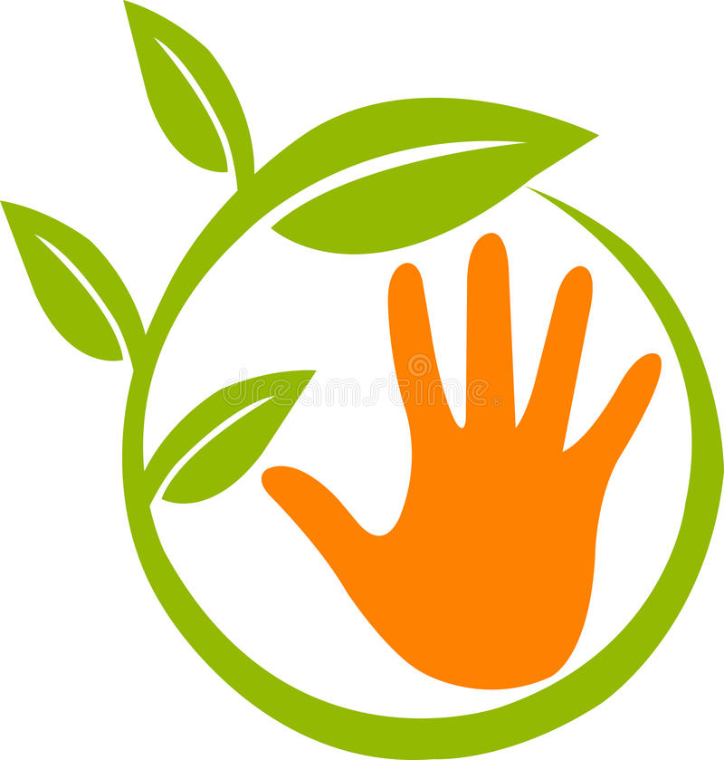 ręki liść logo royalty ilustracja