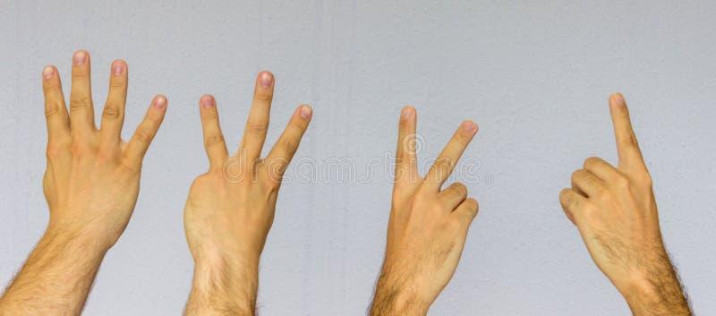 Ręki liczy w dół 4, 1 z palcami od obraz stock