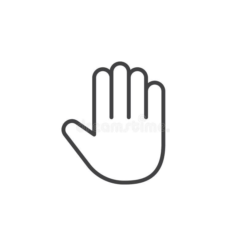 Ręki linii ikona, konturu wektoru znak, liniowy piktogram odizolowywał o ilustracji