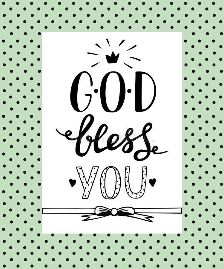 Ręki literowania bóg Błogosławi ciebie royalty ilustracja
