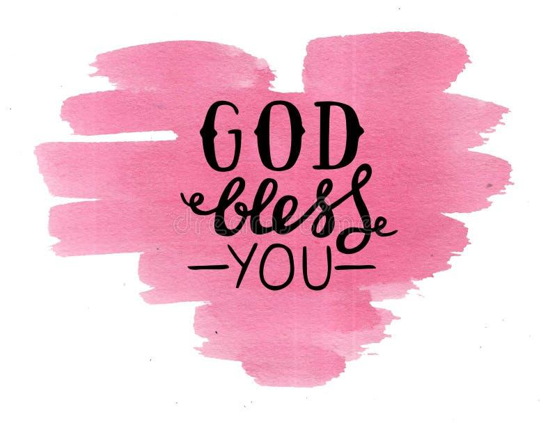 Ręki literowania bóg błogosławi ciebie, robi na różowym akwareli sercu ilustracja wektor