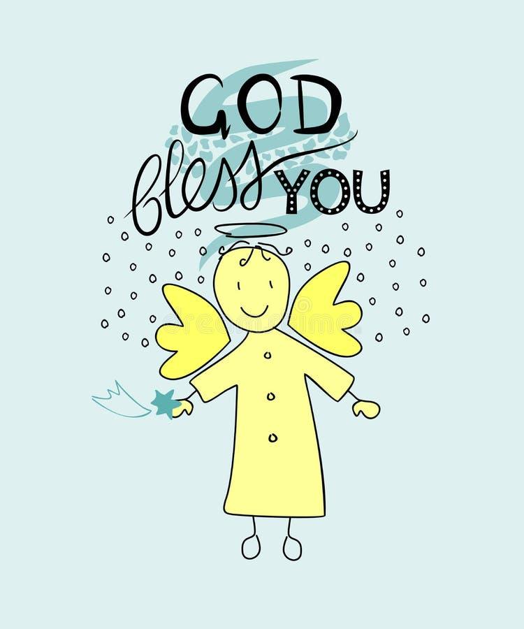 Ręki literowania bóg błogosławi ciebie z aniołem royalty ilustracja