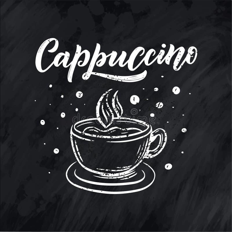 Ręki literowania ellement w nakreślenie stylu dla sklepu z kawą lub kawiarni Ręka rysujący rocznik kreskówki projekt, odosobniony ilustracja wektor
