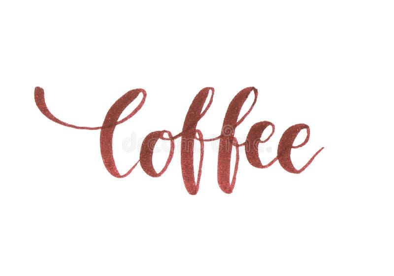 ` ` ręki literowania Kawowa inskrypcja w brązie dla wszystkie kawowych kochanków royalty ilustracja