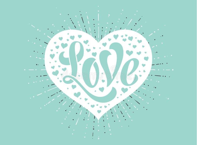 Ręki literowania miłość w białym sercu na turkusowym tle dla kartka z pozdrowieniami Handmade kaligrafia również zwrócić corel il royalty ilustracja