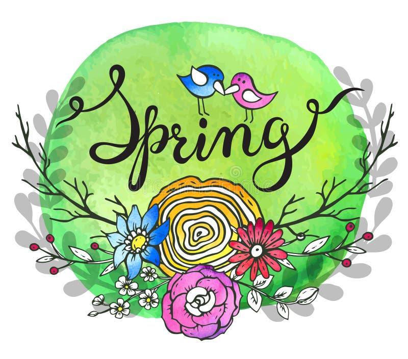 Ręki literowania słowa wiosna z kwiecistym wiankiem i dwa ptakami royalty ilustracja