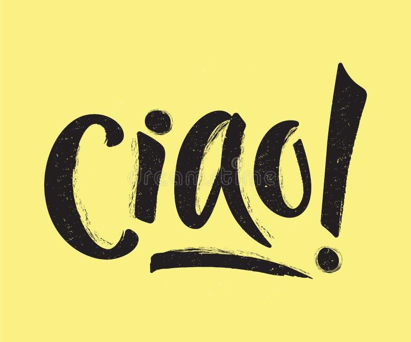 Ręki literowanie słowo CIAO na musztarda kolorze z teksturą royalty ilustracja