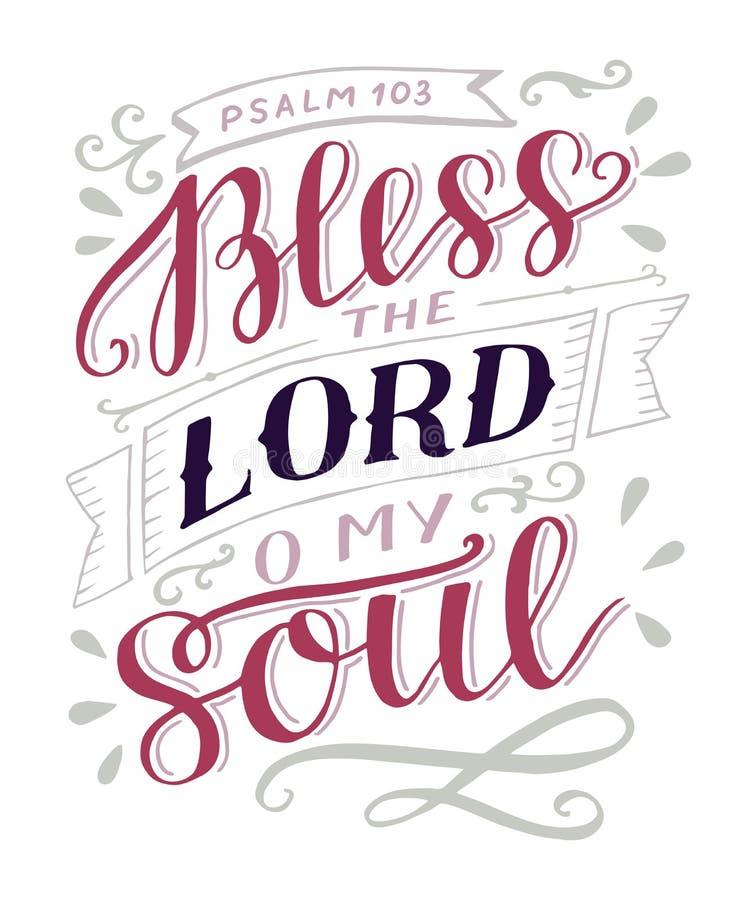 Ręki literowanie z biblia wersetem Błogosławi władyki, o mój dusza psalm ilustracji