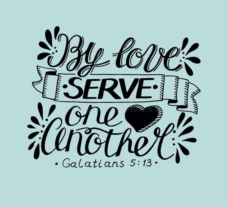 Ręki literowanie z biblia wersetem miłość serw jeden inny na błękitnym tle royalty ilustracja