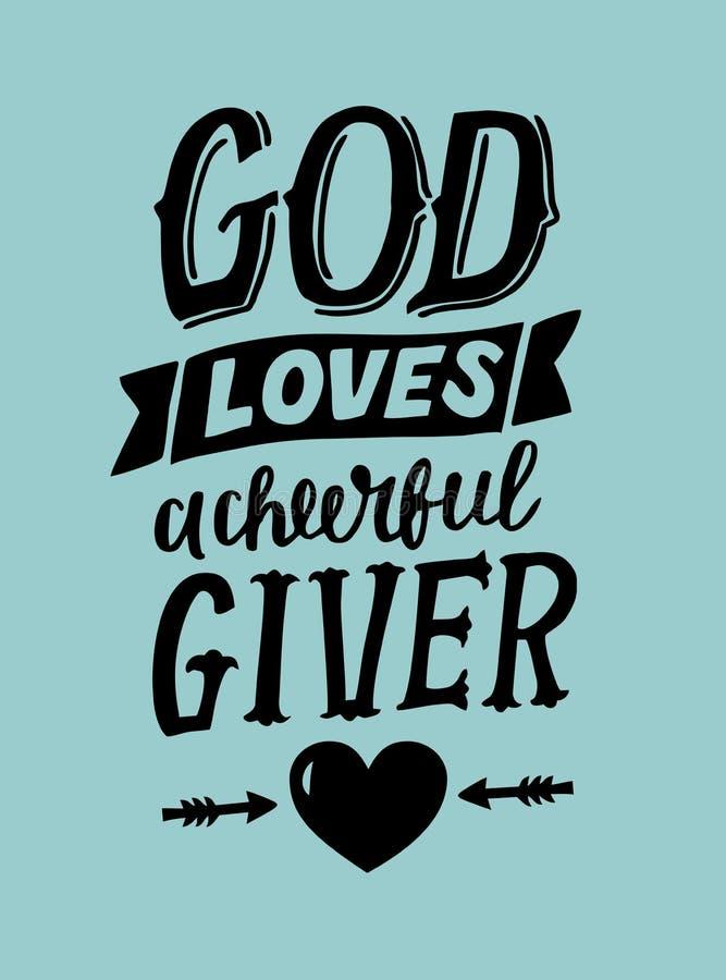 Ręki literowanie z biblia wierszowym bóg kocha cherful dawcy royalty ilustracja