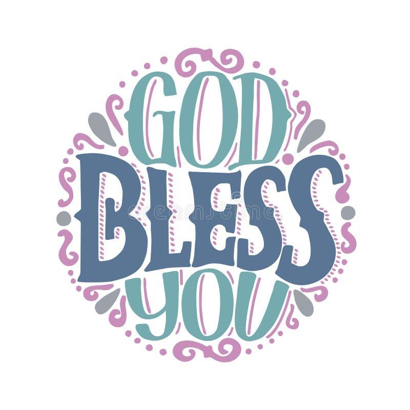 Ręki literowanie z wpisowym bóg błogosławi ciebie zrobił na round royalty ilustracja