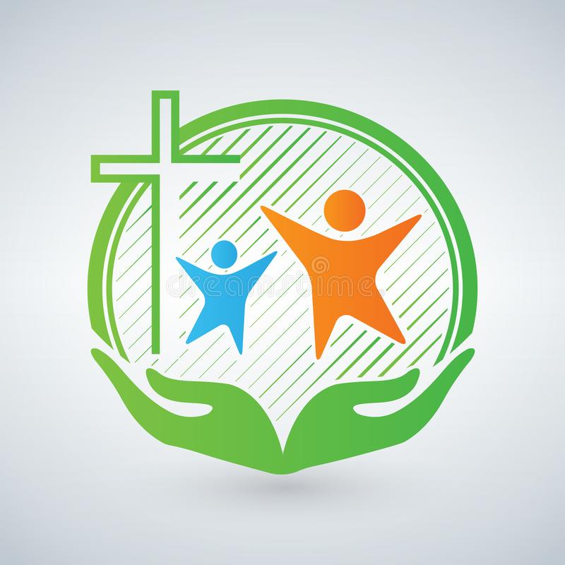 Ręki litość lub opieka Chrześcijański logo, ludzie, dzieci, kobiety Otwiera ręki i krzyżuje Symbol chrześcijański opieki minister royalty ilustracja
