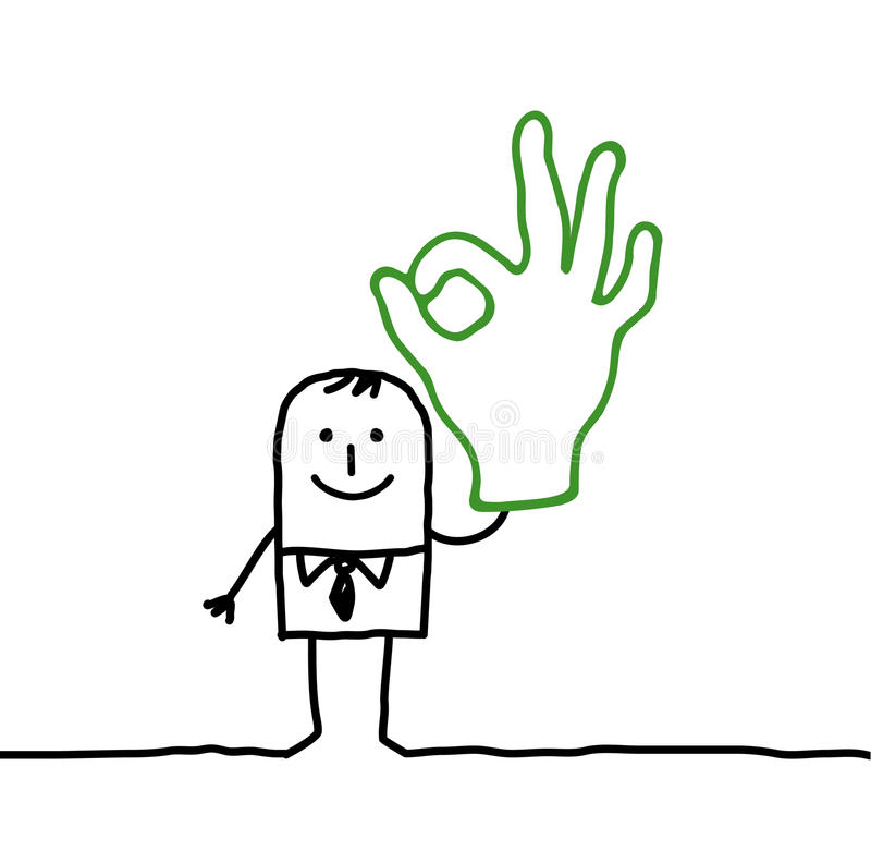 ręki mężczyzna ok znak ilustracji