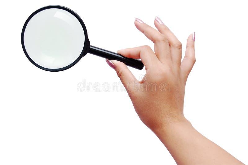 ręki magnifier kobieta fotografia royalty free