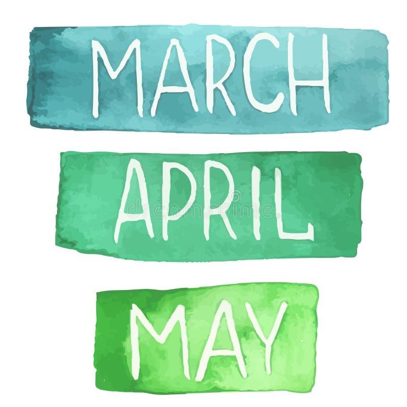 Ręki malować akwareli pastylki z wiosna miesiącami ilustracji