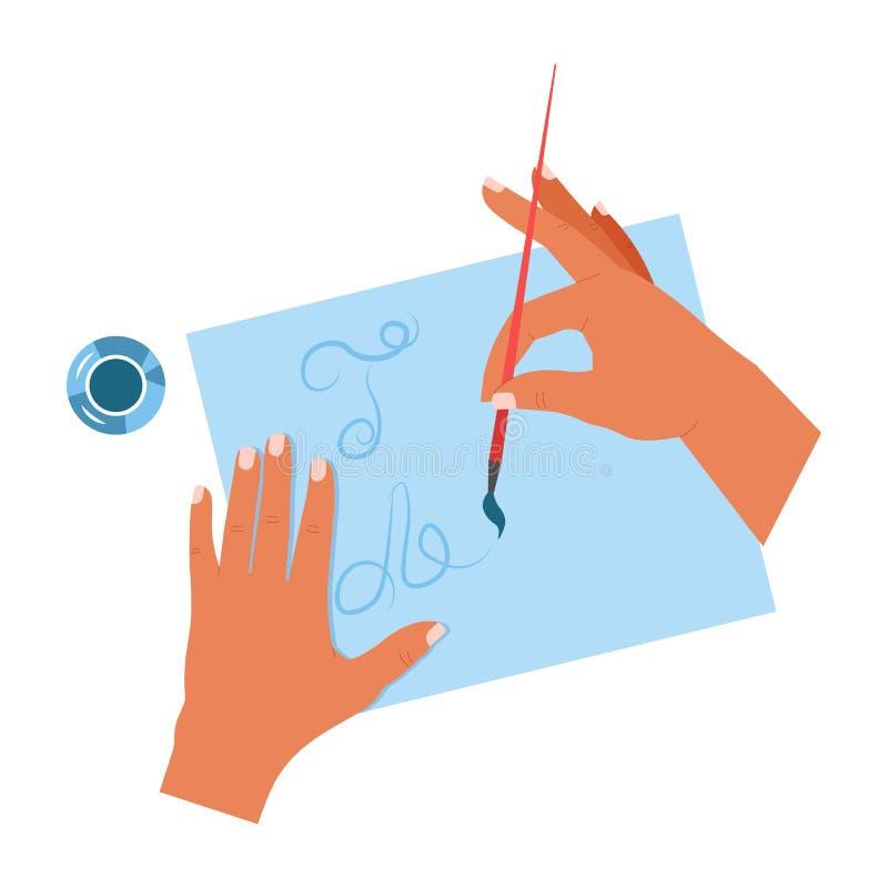 Ręki maluje na papierze ciąć na arkusze kaligrafii literowania paintbrush ilustracja wektor