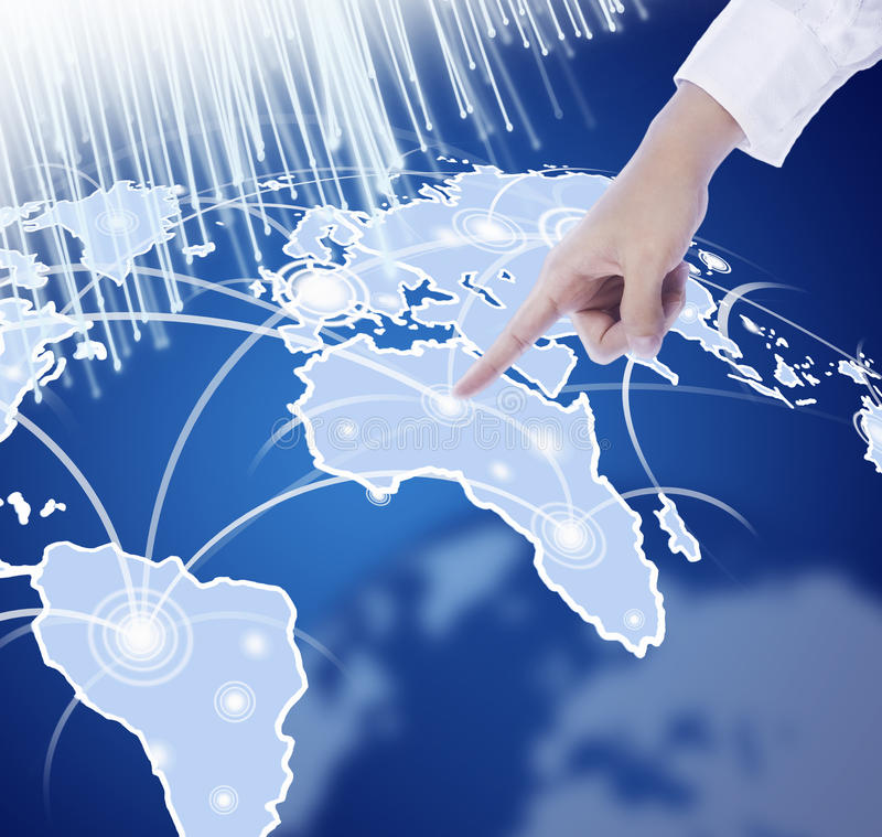 ręki mapy naciskowy świat royalty ilustracja