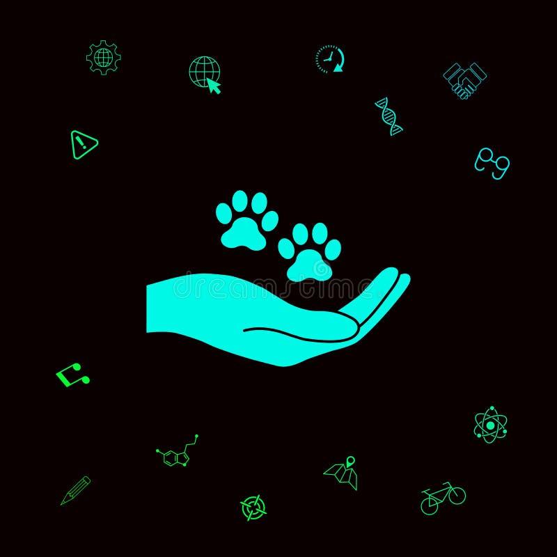 Ręki mienia łapy symbol Zwierzęca ochrona Graficzni elementy dla twój designt ilustracja wektor