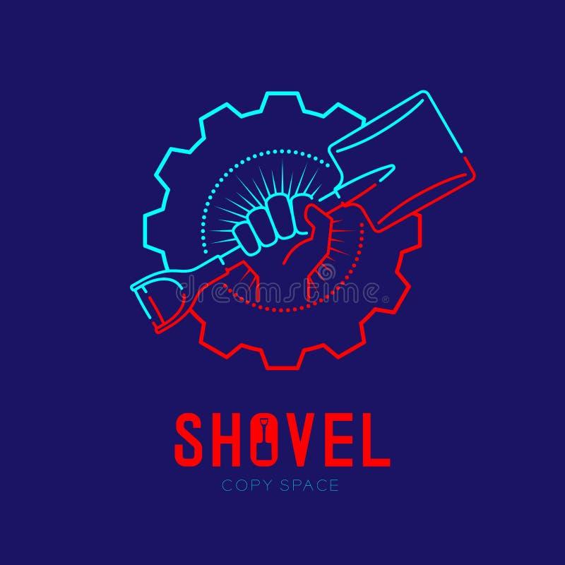 Ręki mienia łopata z promieniomierzem w przekładni ramy logo ikony konturu uderzenia junakowania linii projekta ustalonej ilustra ilustracji
