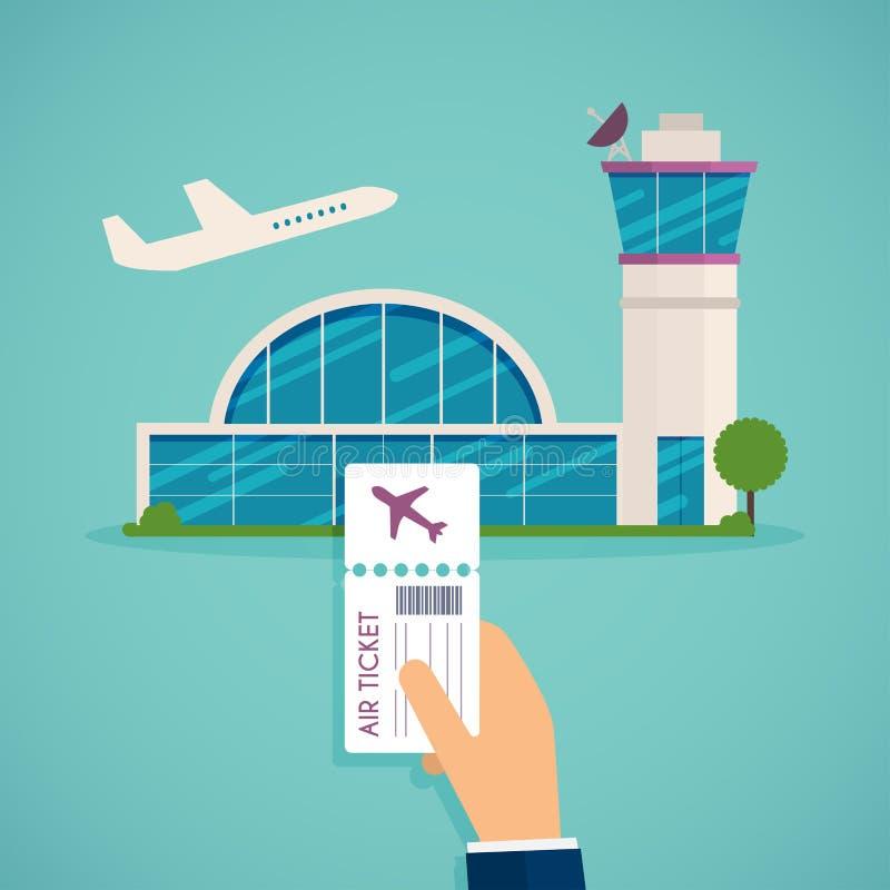 Ręki mienia abordażu przepustka przy lotniskiem Podróżujący na samolocie, pl ilustracji