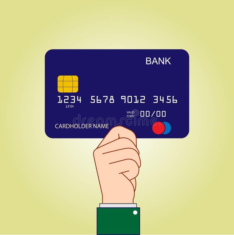 Ręki mienia banka karta, płaski projekt ilustracji