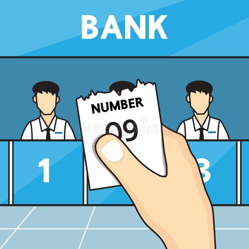 Ręki mienia biletowa kolejka w banku ilustracja wektor