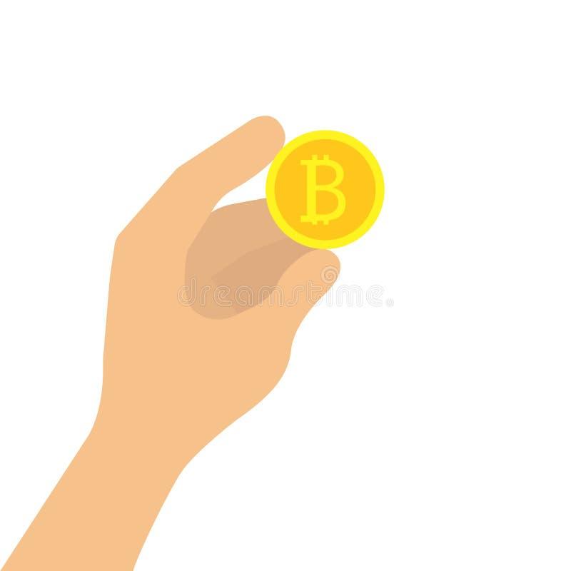 Ręki mienia bitcoin ilustracja wektor