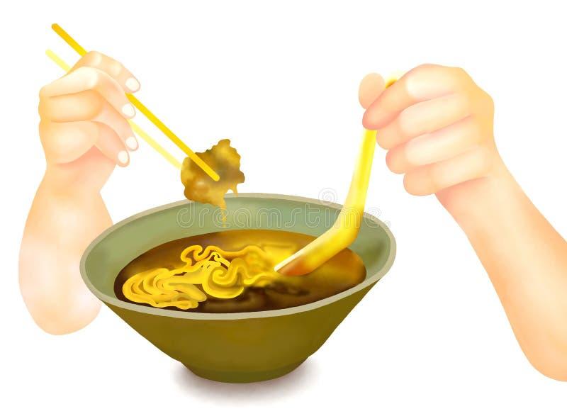 Ręki mienia Chopsticks dla Jeść Ramen kluski fotografia royalty free