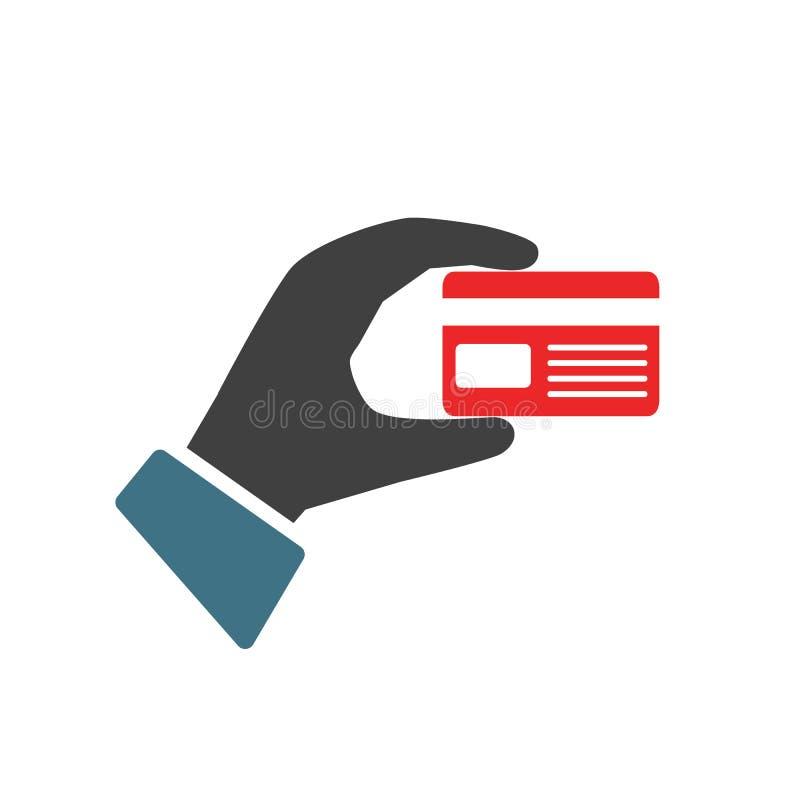 """Ręki mienia debetu karta kredytowa Ręka trzyma bank karty †""""wektor ilustracji"""
