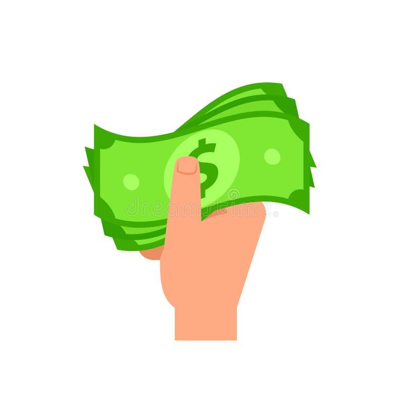 Ręki mienia gotówki pieniądze ikona royalty ilustracja