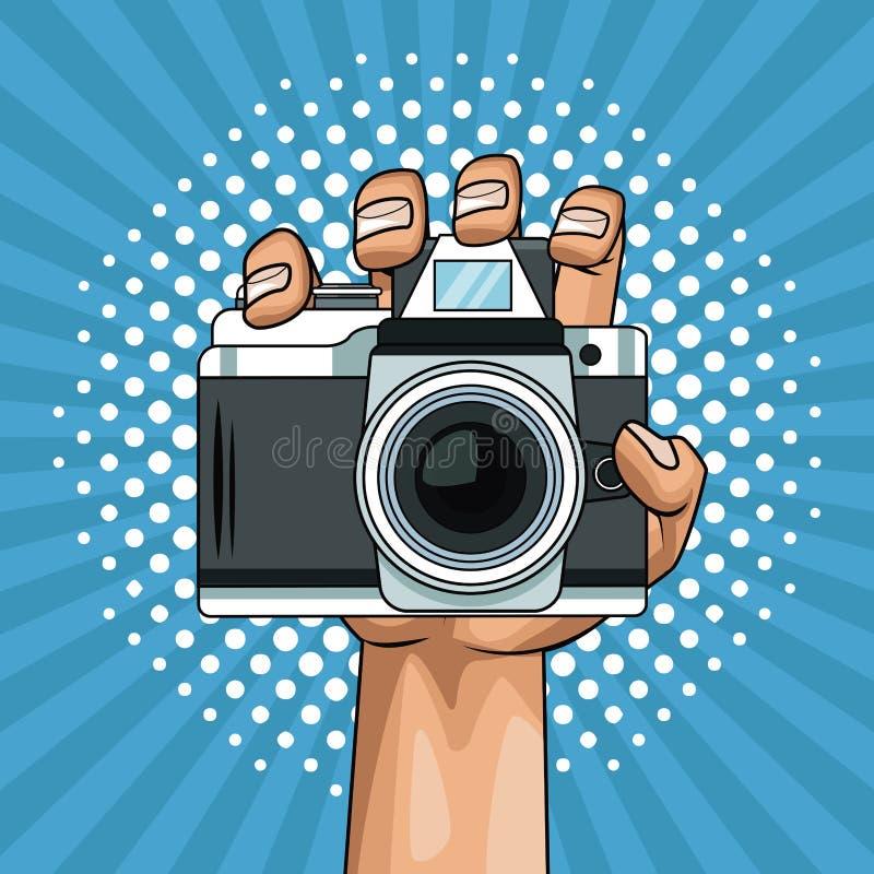 Ręki mienia kamery wystrzału sztuki kreskówka royalty ilustracja