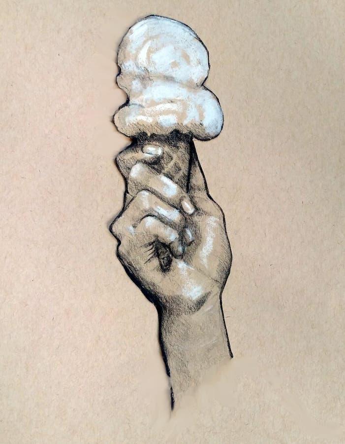 Ręki mienia lody rożek, jedzenie, węgla drzewnego rysunek obrazy royalty free